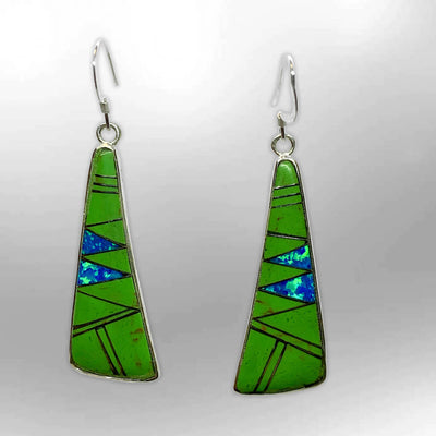 Sterling Silver Inlay Different Stones With Opal Slap Hook Earrings