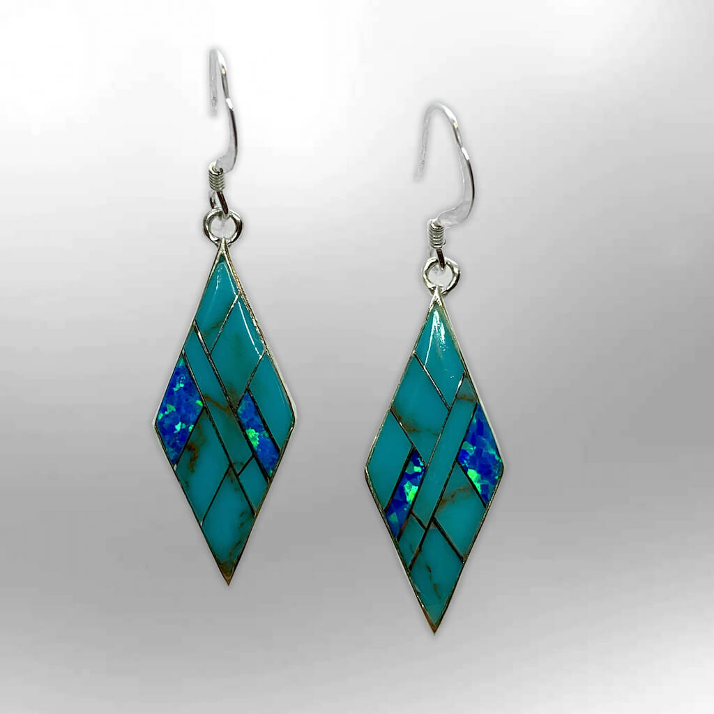 Handmade Inlay Sterling Silver Different Stone with Opal Diamond Rhombus Shape Hook Earrings - Kachina City