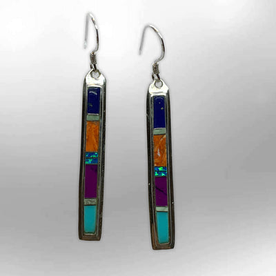 Sterling Silver Inlay Handmade Stones with opal Long Stick Shape Hook Earrings