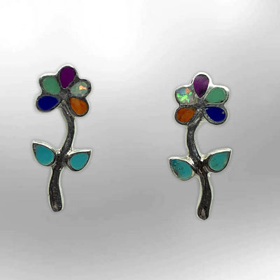 Sterling Silver Inlay Handmade Different Stones Full Flower Small Stud Post Earrings