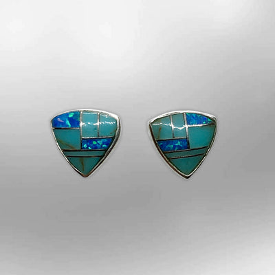 Sterling Silver Handmade Inlay Stones Shield Shape Small Stud Earrings