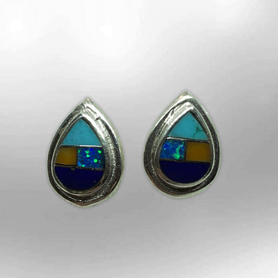 Sterling Silver Handmade Inlay Different Stones Small Teardrop Shape Stud Post Earrings