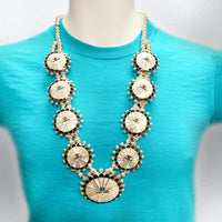 Sterling Silver Zuni Inlay Multi-Stone Round Sun Face Squash Blossom Necklace Set - Kachina City
