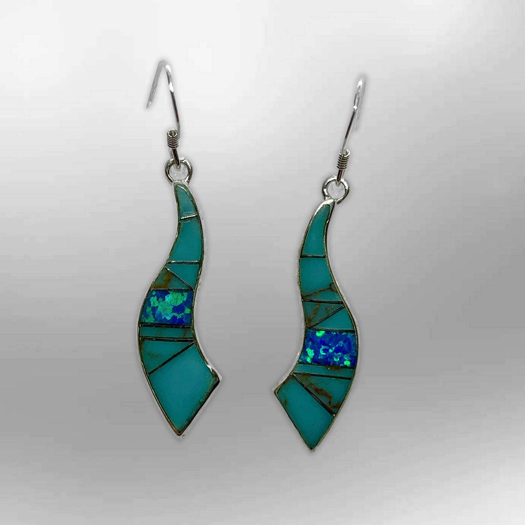 Sterling Silver Inlay Handmade Different Stones Horn Shape Hook Earrings - Kachina City