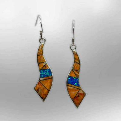 Sterling Silver Inlay Handmade Different Stones Horn Shape Hook Earrings