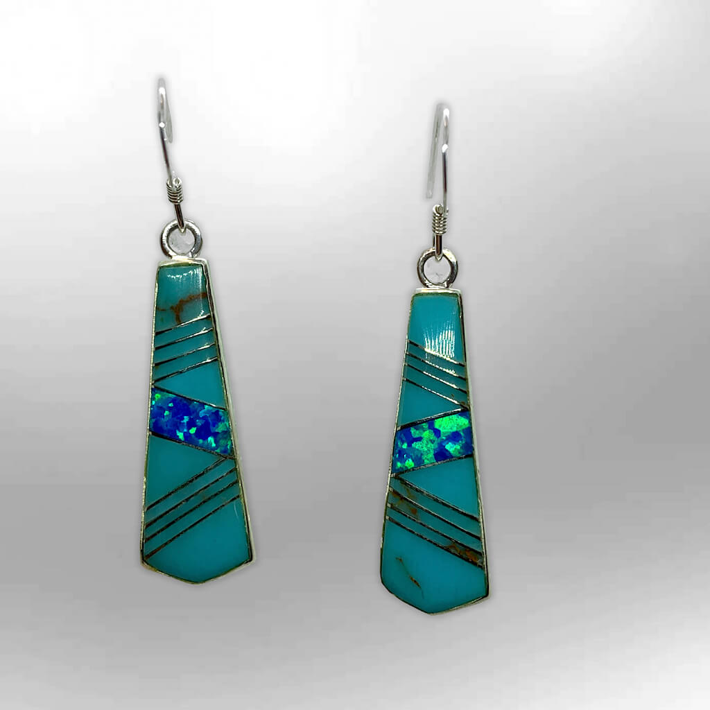 Sterling Silver Handmade Inlay Stones Spear Head Shape Hook Earrings - Kachina City