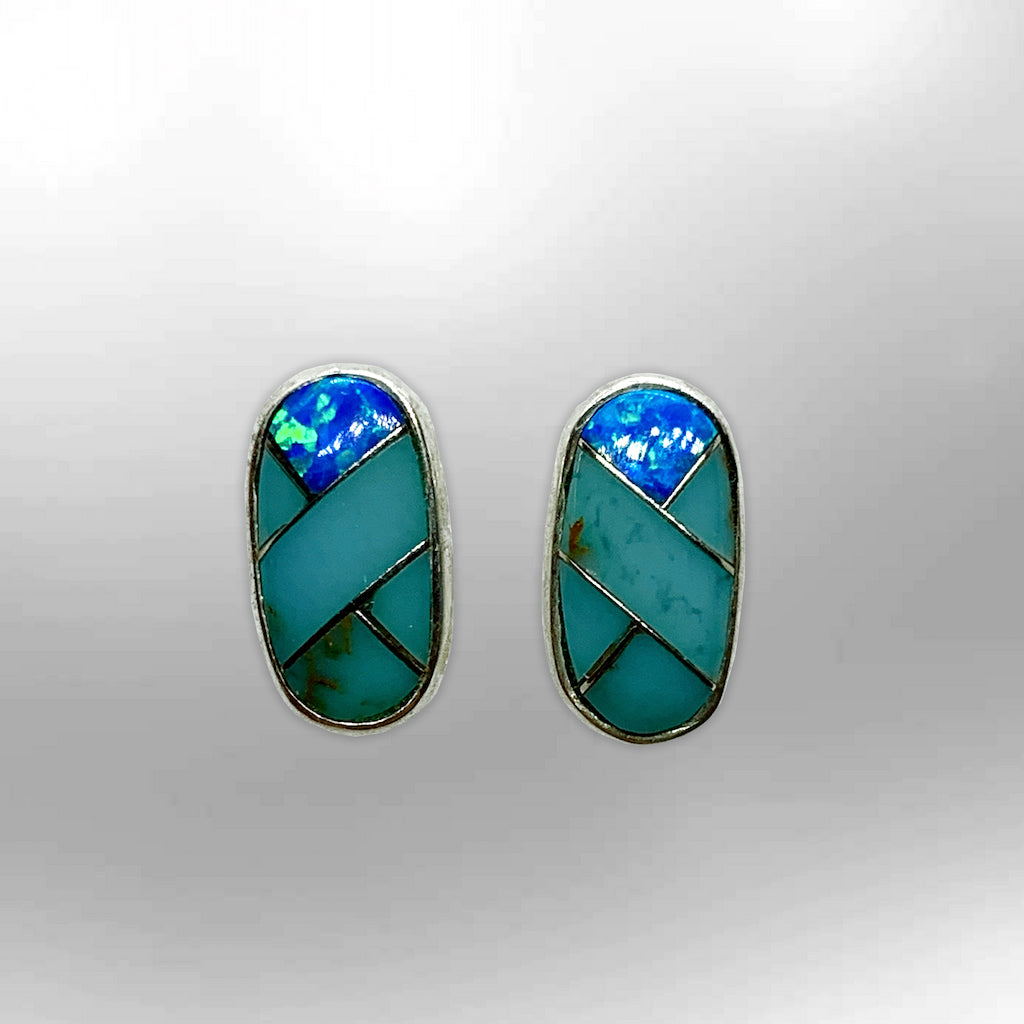 Sterling Silver Inlay different Stones Long Oval Round Shape Post Earrings - Kachina City