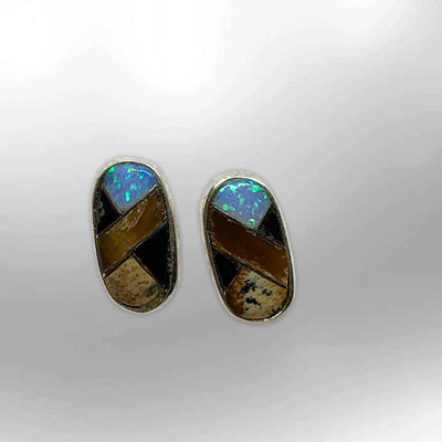Sterling Silver Inlay different Stones Long Oval Round Shape Post Earrings