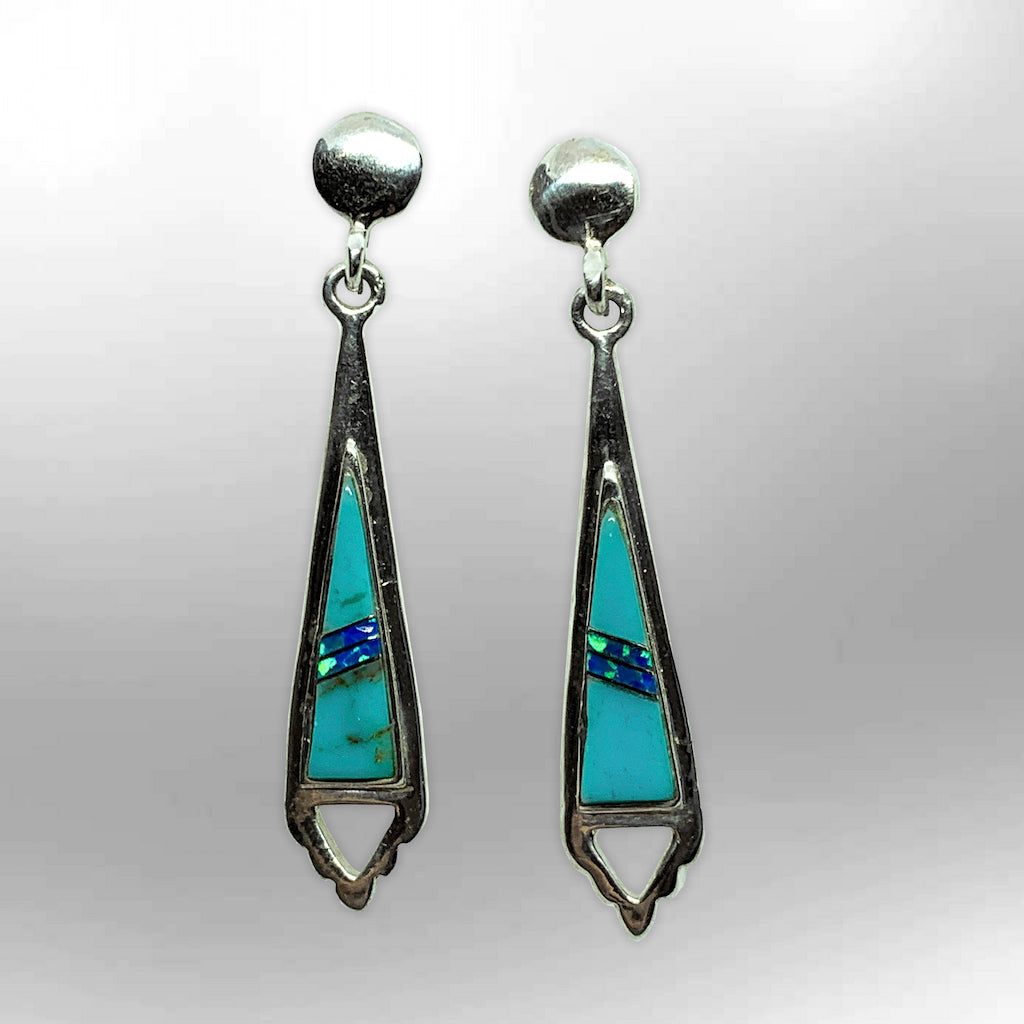 Sterling Silver Handmade Inlay Stones Arrowhead Hollow Triangle Post Earrings - Kachina City