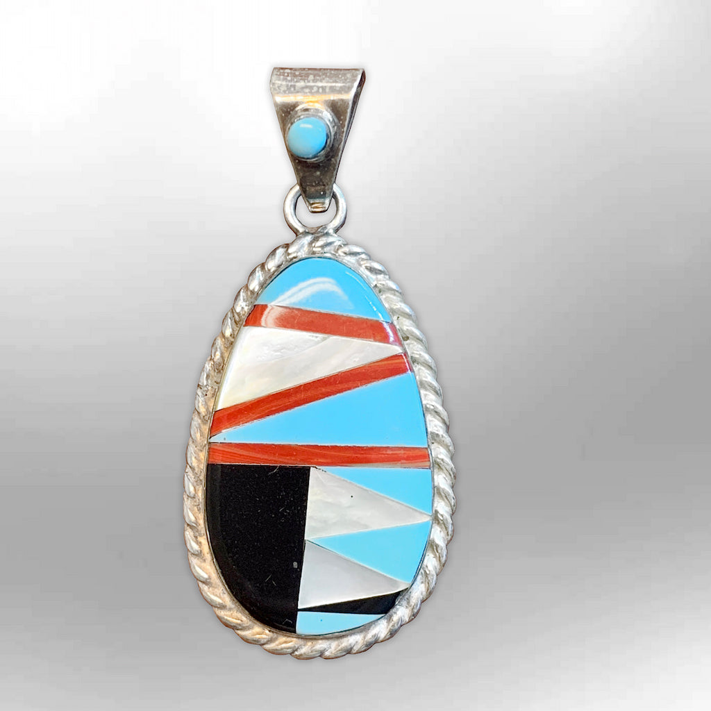 Sterling Silver Inlay Stones Mother of Pearl Round Oval Shape Indian Style Pendant - Kachina City