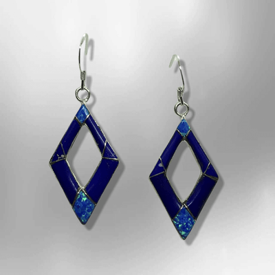 Handmade Inlay Stones Sterling Silver with Opal Hollow Diamond Shape Hook Earrings