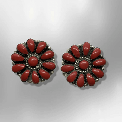 Sterling Silver Navajo Handmade Cluster Coral Stones Round Post Earrings