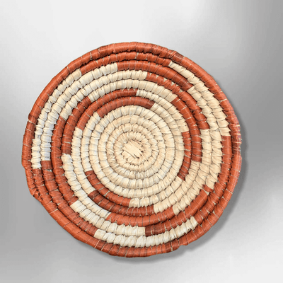 Southwestern Palm Leaves Mini Round Two Colored Basket