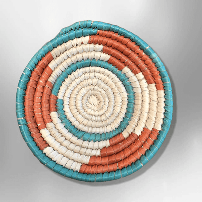 Southwestern Style Palm Leaves Mini Round Three Colored Basket