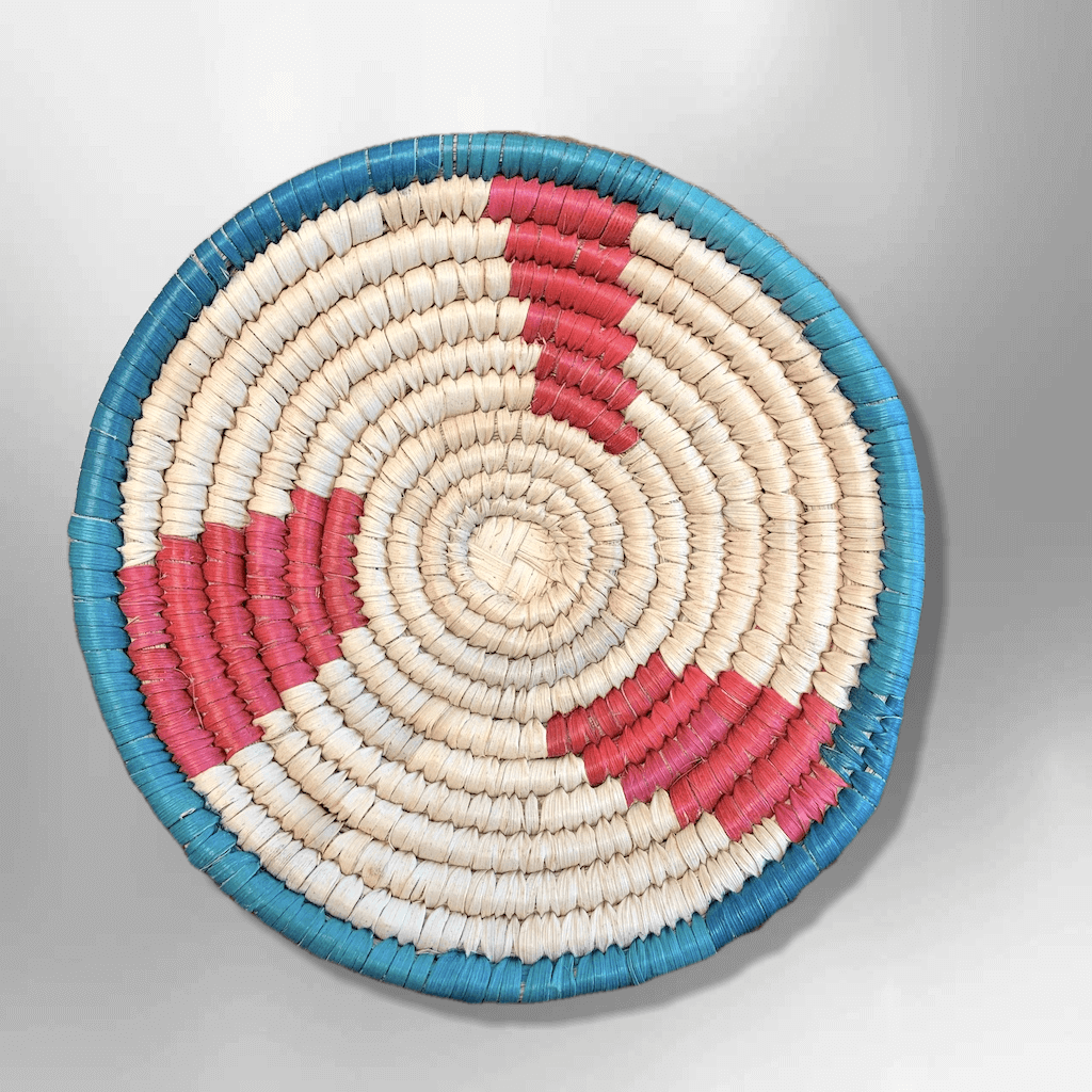 Handwoven Palm Southwestern Leaves Mini Round Three Colored Basket - Kachina City