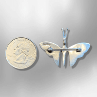 Sterling Silver Handmade Inlay Multi Stone Butterfly Shape All in One Pin and Pendant - Kachina City