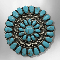 Sterling Silver Navajo Handmade Round Cluster Turquoise Large Pin and Pendant - Kachina City