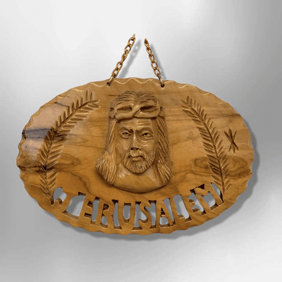 Hand Carved Olive Wood Jerusalem Christ Round Oval Wall Plaque