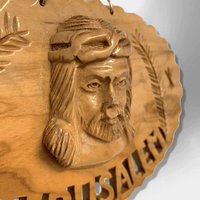 Hand Carved Olive Wood Jerusalem Christ Round Oval Wall Plaque - Kachina City