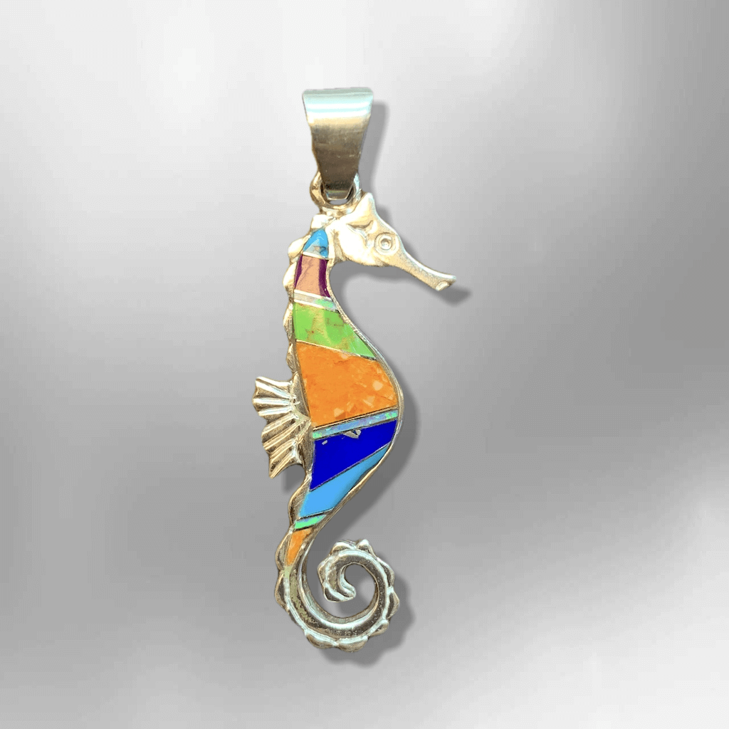 Sterling Silver Inlay Handmade Multi Stone Seahorse Shape Pendant - Kachina City