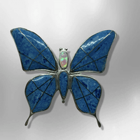 Sterling Silver Inlay Handmade Different Stones Butterfly Shape Pin and Pendant - Kachina City