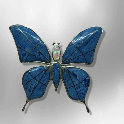 Sterling Silver Inlay Handmade Different Stones Butterfly Shape Pin and Pendant