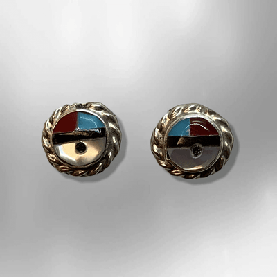 Sterling Silver Zuni Handmade Stone Inlay Small Sun Face Round Stud Earrings