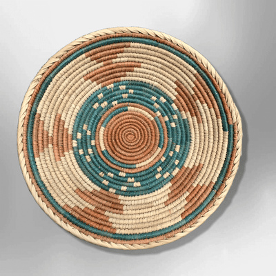 Pakistan Handwoven Palm Leaves Southwestern Medium Round Three Colored Basket