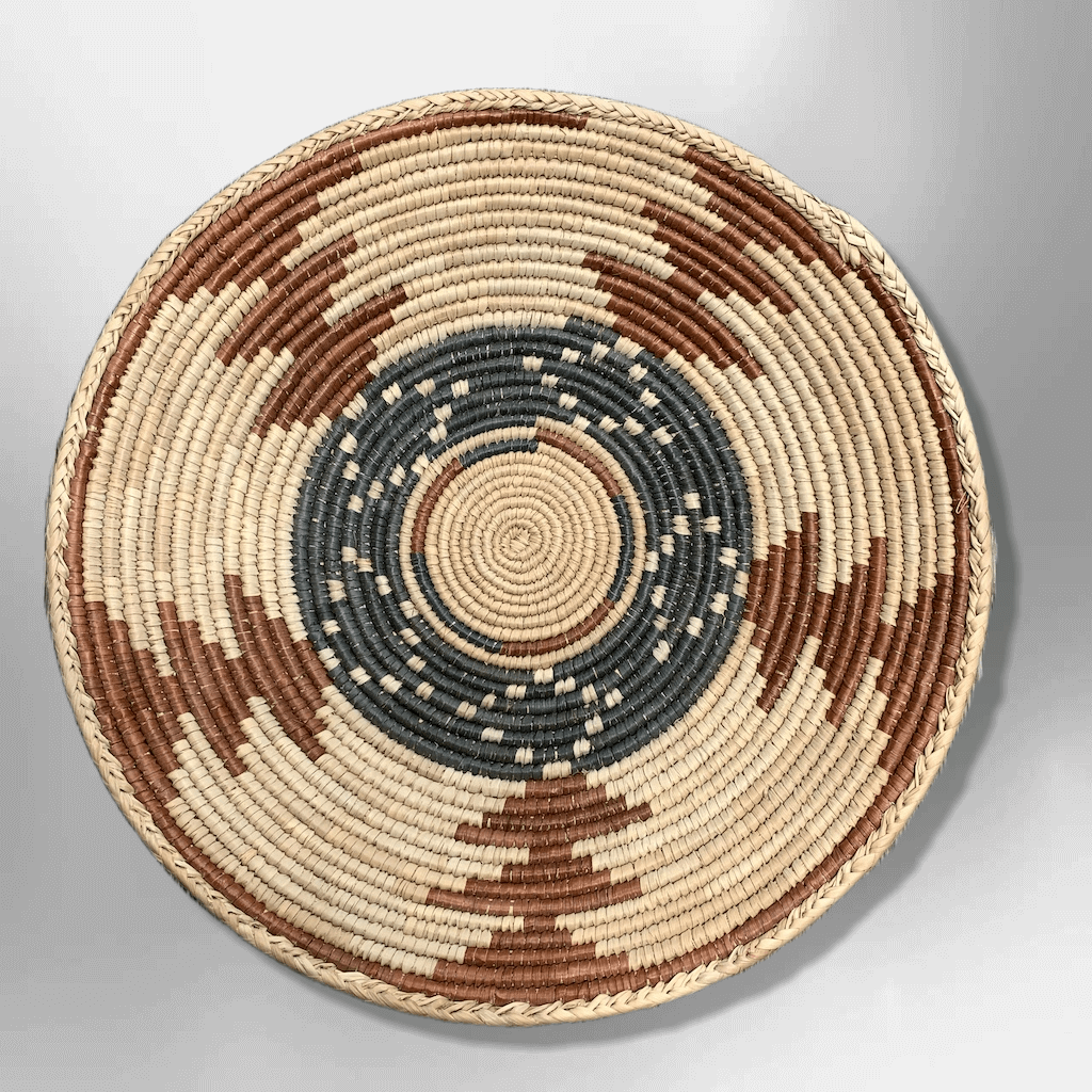 Handwoven Pakistan Palm Leaves Southwestern Medium Round Three Colored Basket - Kachina City