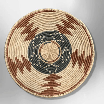 Handwoven Pakistan Palm Leaves Southwestern Medium Round Three Colored Basket