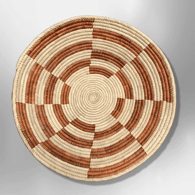 Palm Leaves Handwoven Pakistan Southwestern Medium Round Three Colored Basket
