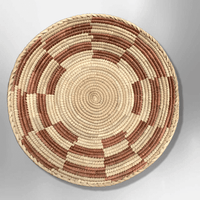 Palm Leaves Handwoven Pakistan Medium Round Two Colored Basket - Kachina City