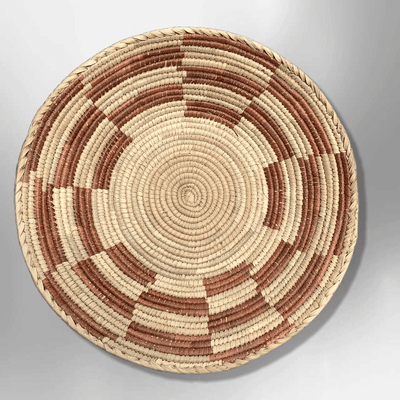 Palm Leaves Handwoven Pakistan Medium Round Two Colored Basket