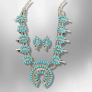 Sterling Silver Navajo Handmade Cluster Turquoise Stone Squash Blossom Necklace Set - Kachina City