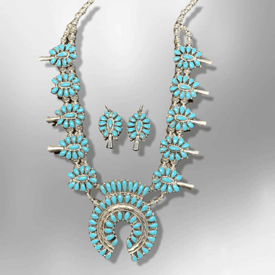 Sterling Silver Navajo Handmade Cluster Turquoise Stone Squash Blossom Necklace Set
