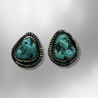 Sterling Silver Navajo Handmade Natural Turquoise Oval 10 Nuggets Squash Blossom Set - Kachina City