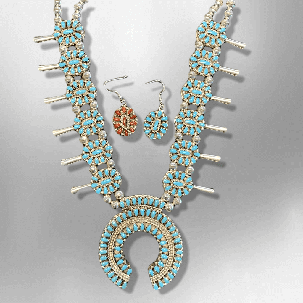 Sterling Silver Navajo Handmade Cluster Stone Reversible Squash Blossom Necklace Set - Kachina City