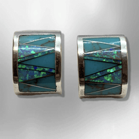 Sterling Silver Inlay Handmade Stones Curved Moon Shape Post Earrings - Kachina City