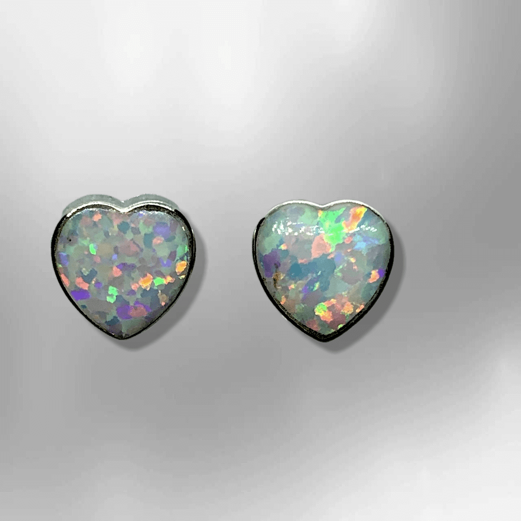 Sterling Silver Inlay HandmadeDifferent Opal Colors Stones Heart Shape Stud Earrings - Kachina City