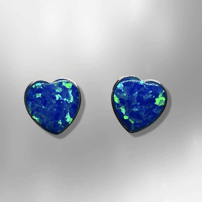 Sterling Silver Inlay HandmadeDifferent Opal Colors Stones Heart Shape Stud Earrings