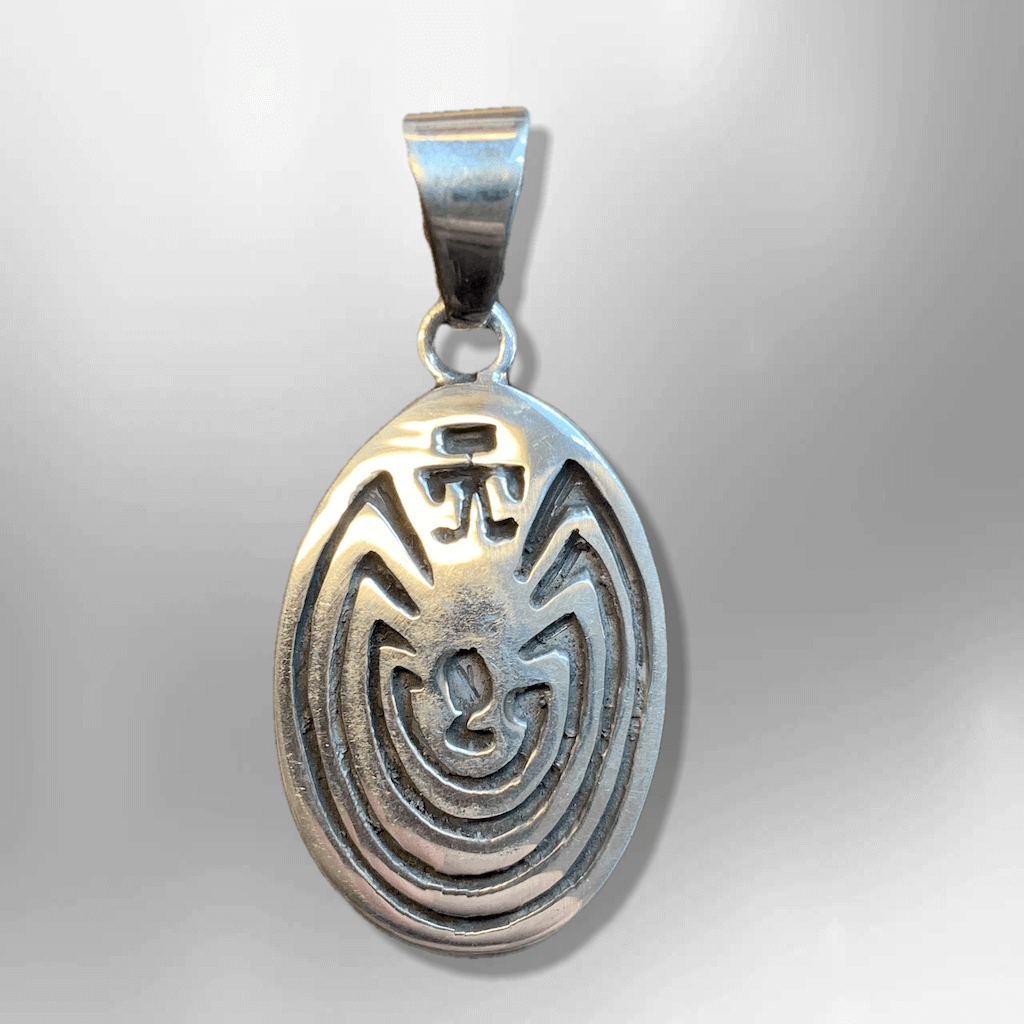 Sterling Silver Hand Engraved Man In The Maze Oval Round Pendant - Kachina City