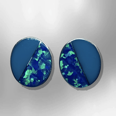 Sterling Silver Handmade Inlay Half Stone Half Opal Round Oval Stud Earrings