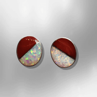Sterling Silver Handmade Inlay Half Stone Half Opal Round Oval Stud Earrings - Kachina City