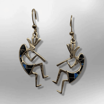 Bronze Handmade Inlay Stones Kokopelli Shape Hook Earrings