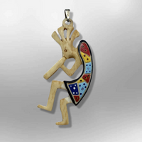 Handmade Bone Carved Kokopelli Colored Pendant - Kachina City