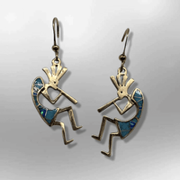 Bronze Handmade Inlay Stones Kokopelli Shape Hook Earrings - Kachina City