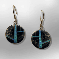 Bronze Handmade Inlay Different Stones Round Circle Hook Earrings - Kachina City
