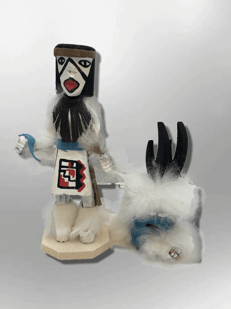 Navajo Handmade Painted Aspen Wood Six Inch Antelope with Mask Kachina Doll - Kachina City