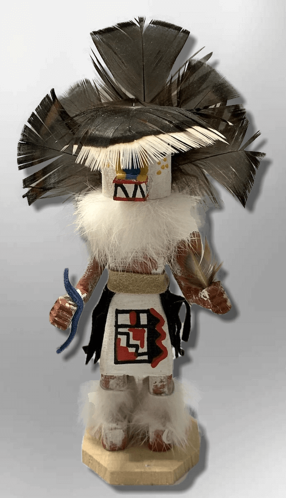 Handmade Painted Aspen Wood Six 6'' Inch Badger Kachina Doll - Kachina City