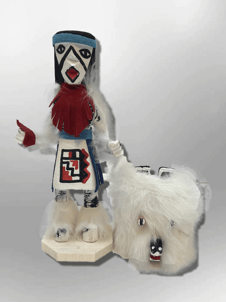 Navajo Handmade Painted Aspen Wood Six Inch Bear with Mask Kachina Doll - Kachina City